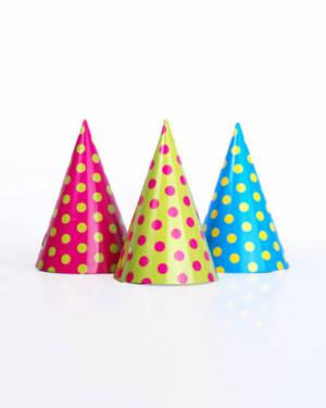 Party Hatter m prikker i livlige farger