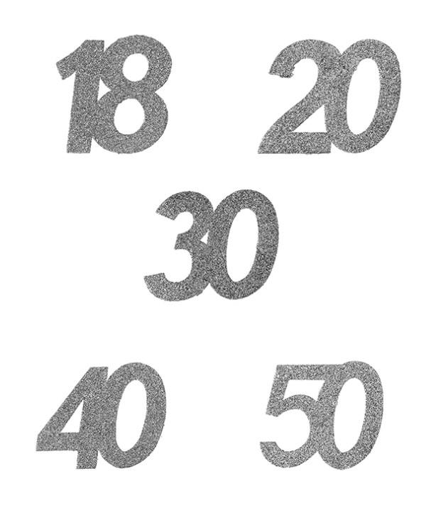 Konfetti: Ulike tall - Sølv Glitter