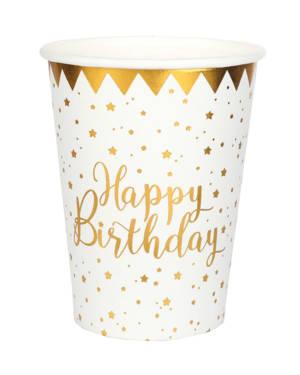 Happy Birthday Kopp - Hvit & Gull