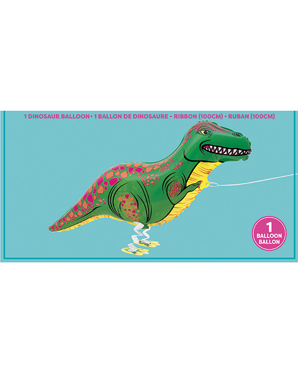 Folieballong: Gående Dinosaur (T-Rex) - Folieballong: 89cm