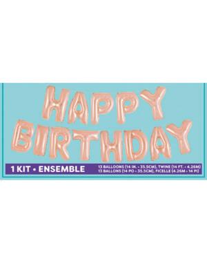 "Folieballong / Ballongbanner: Happy Birthday"" - Rosegull - 4,26m x 41cm"