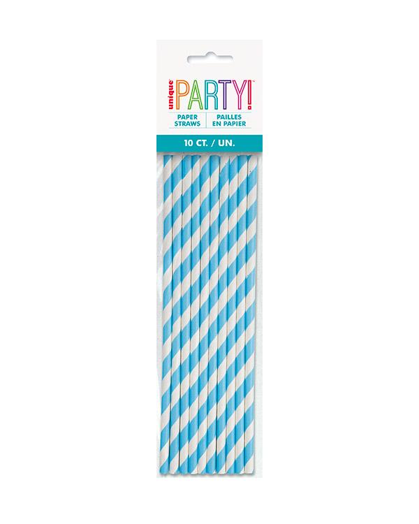 Sugerør (10stk): Papp med striper - Flere farger