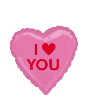 """Folieballong: Hjerte - """"I Love You"""" - 43cm"""