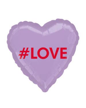 """Folieballong: Hjerte - """"#Love"""" - 43cm"""