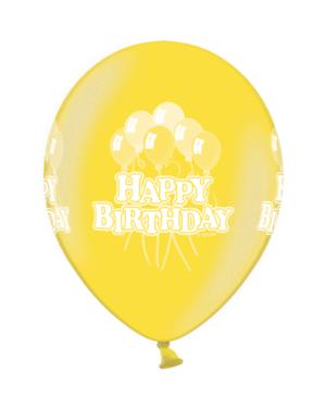 Lateksballonger (50stk): Happy Birthday Citrus Yellow - 30cm