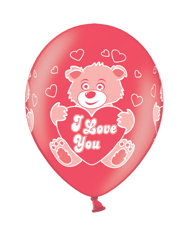 Lateksballonger (50stk): Love Bear Cherry Red - 30cm
