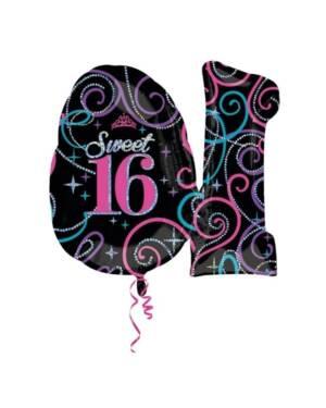 "Folieballong: ""Sweet 16"" - 71 x 66cm"