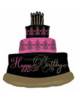 "Folieballong: Kake - ""Happy Birthday"" - 71 x 81cm"