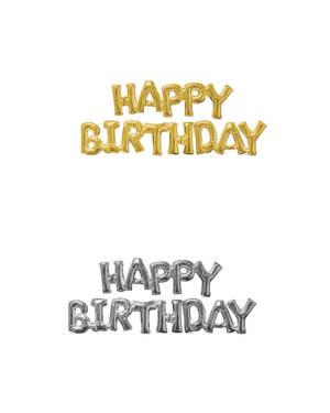 "Folieballong / Ballongbanner: ""Happy Birthday"" - Flere farger"