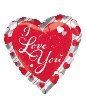 "Folieballong: ""Love"" Red Heart & Silver Stripes - 43cm"