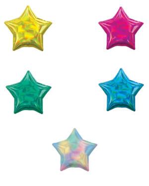 Folieballong: Stjerne - Flere farger (Iriserende Holografisk) - 43cm