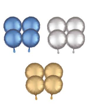Folieballonger (4stk): Sirkel - Matt - 43cm