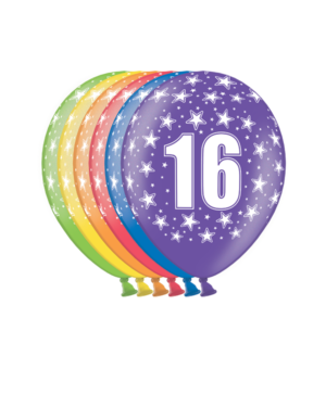 """Lateksballonger (6stk): """"16"""" - 30cm"""
