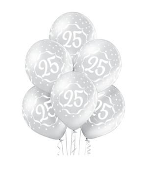 """Lateksballonger (6stk): """"25"""" - 30cm - Sølv (Metallic)"""