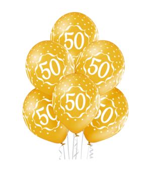"""Lateksballonger (6stk): """"50"""" - 30cm - Gull (Metallic)"""