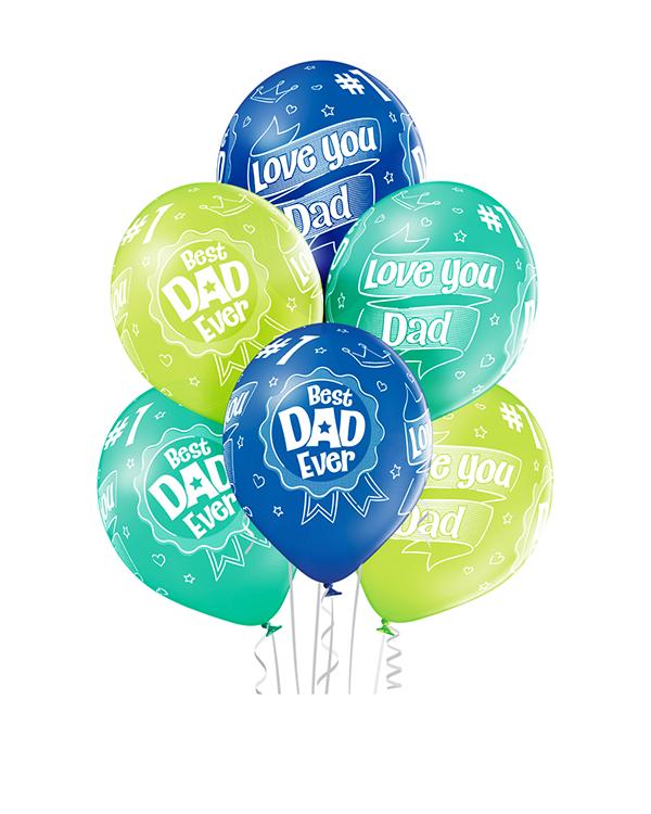 """Lateksballonger (6stk): """"Best Dad Ever"""" - 30cm"""