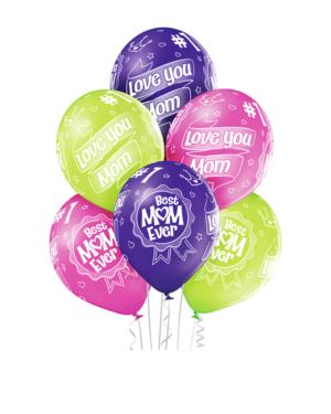 """Lateksballonger (6stk): """"Best Mom Ever"""" - 30cm"""
