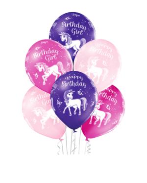 "Lateksballonger (6stk): ""Happy Birthday"" - Enhjørning - 30cm"