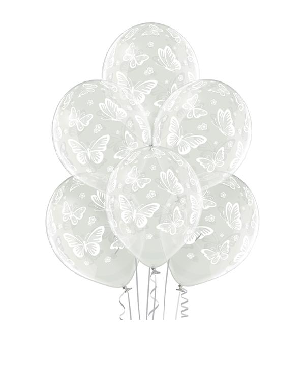 Lateksballonger (6stk): Sommerfugler - 30cm - Crystal