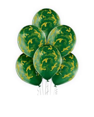 Lateksballonger (6stk): Kamuflasje - 30cm - Grønn Crystal