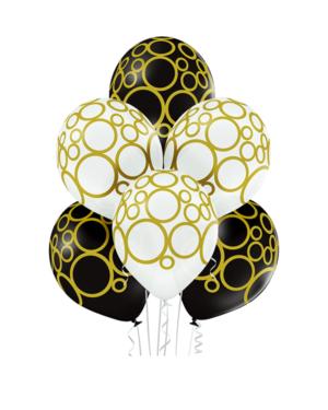 Lateksballonger (6stk): Sirkler - 30cm - Hvit & Svart (Pastel)