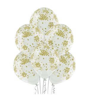 Lateksballonger (6stk): Konfettiballonger - 30cm - Crystal