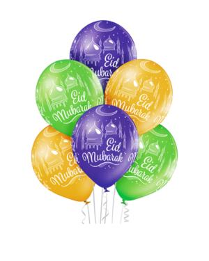 """Lateksballonger (6stk): """"Eid Mubarak"""" & Moskeer - 30cm"""