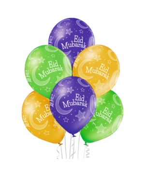 "Lateksballonger (6stk): ""Eid Mubarak"" - 30cm"