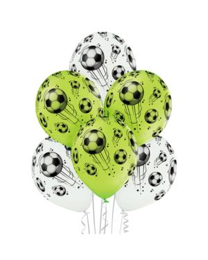 Lateksballonger (6stk): Fotball - 30cm