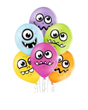 Lateksballonger (6stk): Monster - 30cm