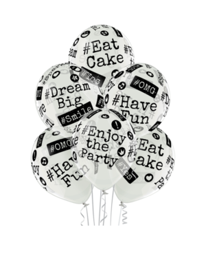 Lateksballonger (6stk): Hashtag / Emneknagg - 30cm - Crystal