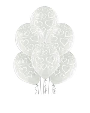 Lateksballonger (6stk): Hjerter - 30cm - Crystal