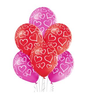 Lateksballonger (6stk): Hjerter - 30cm - Pastel