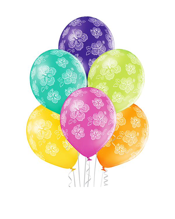 Lateksballonger (6stk): Hibiskus - 30cm