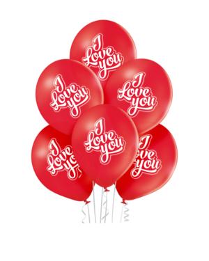 "Lateksballonger (6stk): ""I Love You"" - 30cm - Rød (Pastel)"