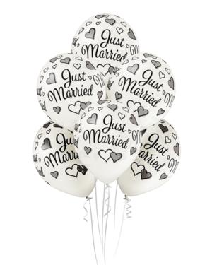 "Lateksballonger (6stk): ""Just Married"" - 30cm - Pearl (Metallic)"