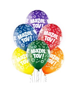 "Lateksballonger (6stk): ""Mazel Tov"" - 30cm"