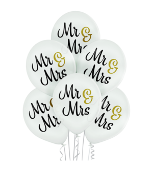 """Lateksballonger (6stk): """"Mr & Mrs"""" - 30cm - Hvit (Pastel)"""