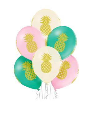 Lateksballonger (6stk): Ananas - 30cm