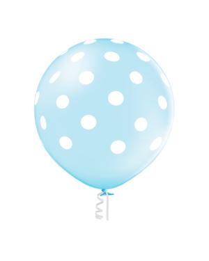 Lateksballong: Polka Dots / Prikker - 60cm - Sky Blue (Crystal)
