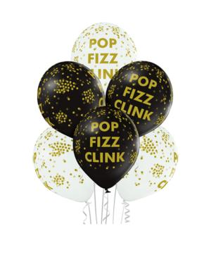 Lateksballonger (6stk): Popp Fizz Clink & Konfettiballonger - 30cm