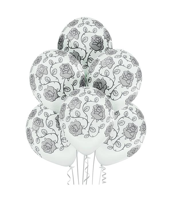Lateksballonger (6stk): Roser - 30cm - Hvit (Pastel)