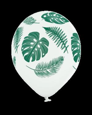 Lateksballonger (6stk): Tropiske Blader - 30cm - Hvit (Pastel)