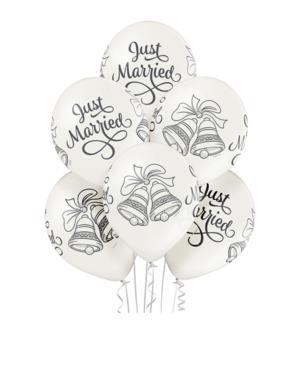 """Lateksballonger (6stk): """"Just Married"""" & Bryllupsklokker - 30cm - Pearl (Metallic)"""