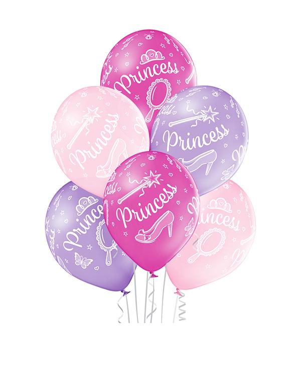 Lateksballonger (6stk): Prinsesse - 30cm