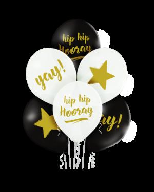 "Lateksballonger (6stk): ""Hip Hip Hooray"" ""Yay"" & Stjerner - 30cm - Hvit & Svart (Pastel)"