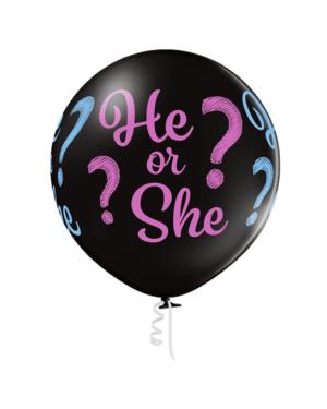 """Lateksballong: """"He or She?"""" - 60cm - Svart (Pastel)"""