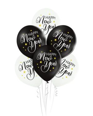 "Lateksballonger (6stk): ""Happy New Year"" - 30cm - Hvit & Svart (Pastel)"
