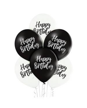 """Lateksballonger (6stk): """"Happy Birthday"""" - 30cm - Hvit & Svart (Pastel)"""
