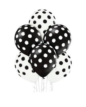 Lateksballonger (6stk): Polka Dots / Prikker - 30cm - Hvit & Svart (Pastel)